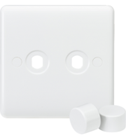 ML ACCESSORIES Curved Edge 2G Dimmer Plate With 2 Matching Dimmer Caps