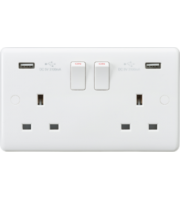 ML ACCESSORIES Curved Edge 13A 2G Switched Socket With Dual Usb Charger (5V Dc 3.1A Shared)
