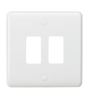 Knightsbridge Curved edge 2G grid faceplate (White)