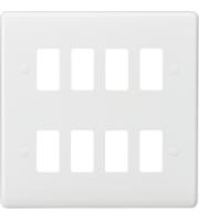 Knightsbridge Curved edge 8G grid faceplate (White)