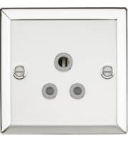 ML ACCESSORIES 5A Unswitched Socket With Grey Insert - Bevelled Edge Polished Chrome