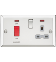 ML ACCESSORIES 45A Dp Cooker Switch & 13A Switched Socket With Neons & Grey Insert - Bevelled Edge Polished Chrome