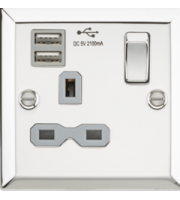 ML ACCESSORIES 13A 1G Switched Socket Dual Usb Charger Slots With Grey Insert - Bevelled Edge Polished Chrome