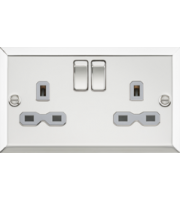 ML ACCESSORIES 13A 2G Dp Switched Socket With Grey Insert - Bevelled Edge Polished Chrome