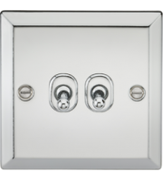 ML ACCESSORIES 10A 2G 2 Way Toggle Switch - Bevelled Edge Polished Chrome