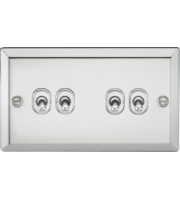 ML ACCESSORIES 10A 4G 2 Way Toggle Switch - Bevelled Edge Polished Chrome