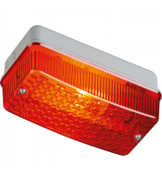 ML Accessories 230V IP65 Bulkhead with Red Prismatic Diffuser & Aluminium Base (Aluminium)
