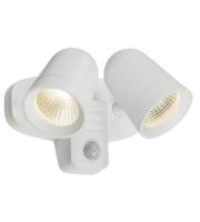 Knightsbridge 18W LED Twin Spot Floodlight with PIR (White)