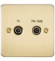 ML Accessories Flat Plate Screened Diplex Outlet TV & FM DAB (Brushed Brass)