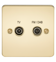 ML Accessories Flat Plate Screened Diplex Outlet TV & FM DAB (Polished Brass )