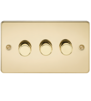 ML Accessories Flat Plate 3G 2 Way 40-400W Dimmer (Polished Brass)