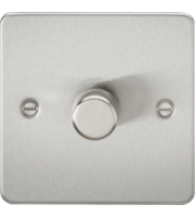 ML ACCESSORIES Flat Plate 1G 2 Way 10-200W Dimmer - Brushed Chrome