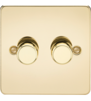ML ACCESSORIES Flat Plate 2G 2 Way 10-200W Dimmer - Polished Brass