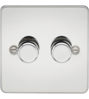 ML ACCESSORIES Flat Plate 2G 2 Way 10-200W Dimmer -Polished Chrome