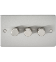 ML ACCESSORIES Flat Plate 3G 2 Way 10-200W Dimmer - Brushed Chrome