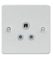 ML Accessories Flat Plate 5A Unswitched Socket (Brushed Chrome with Grey Insert)