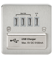 ML Accessories Flat Plate Quad Usb Charger Outlet (Brushed Chrome with Grey Insert)