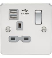 Knightsbridge Flat plate 1G DP switched socket (Chrome)