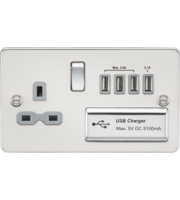 ML ACCESSORIES Flat Plate 13A Switched Socket With Quad Usb Charger - Polished Chrome With White Insert
