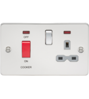 ML ACCESSORIES Flat Plate 45A Dp Switch And 13A Switched Socket With Neon - Polished Chrome With Grey Insert