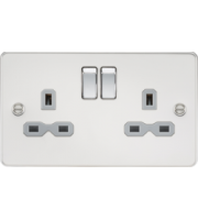 ML ACCESSORIES Flat Plate 13A 2G Dp Switched Socket - Polished Chrome With Grey Insert