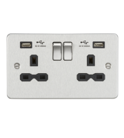 ML ACCESSORIES Flat Plate 13A 2G Switched Socket With Dual Usb Charger (2.4A) (Brushed Chrome With Black Insert)