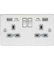 ML ACCESSORIES Flat Plate 13A 2G Switched Socket With Dual Usb Charger - Polished Chrome With Grey Insert