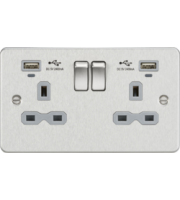 ML ACCESSORIES Flat Plate 13A 2G Switched Socket With Dual Usb Charger Brushed Chrome With Grey Insert