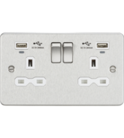 ML ACCESSORIES Flat Plate 13A 2G Switched Socket With Dual Usb Charger - Brushed Chrome With White Ins