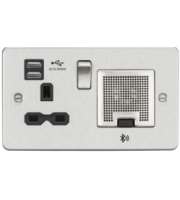 ML ACCESSORIES Flat Plate 13A Socket, Usb Charger And Bluetooth Speaker Combo - Brushed Chrome With Black Insert