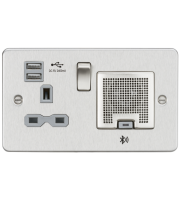 ML ACCESSORIES Flat Plate 13A Socket, Usb Charger And Bluetooth Speaker Combo - Brushed Chrome With Grey Insert