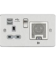 ML ACCESSORIES Flat Plate 13A Socket, Usb Charger And Bluetooth Speaker Combo - Brushed Chrome With White Insert