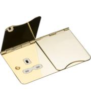 Knightsbridge 2G unswitched floor socket (Brass)