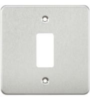 Knightsbridge Flat plate 1G grid faceplate (Chrome)