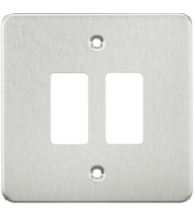 ML ACCESSORIES Flat Plate 2G Grid Faceplate - Brushed Chrome