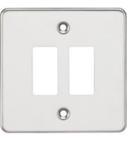 ML ACCESSORIES Flat Plate 2G Grid Faceplate - Polished Chrome