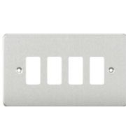 Knightsbridge Flat plate 4G grid faceplate (Chrome)