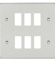 ML ACCESSORIES Flat Plate 6G Grid Faceplate - Brushed Chrome