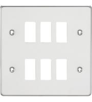 Knightsbridge Flat plate 6G grid faceplate (Chrome)