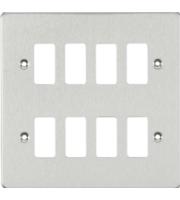 Knightsbridge Flat plate 8G grid faceplate (Chrome)