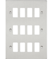 ML ACCESSORIES Flat Plate 12G Grid Faceplate - Brushed Chrome