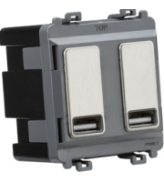 Knightsbridge Dual USB charger module (2 x grid positions) 5V 2.4A (shared) (Brushed Chrome)