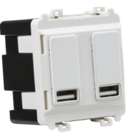 Knightsbridge Dual USB charger module (2 x grid positions) 5V 2.4A (shared) (White)