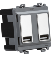 Knightsbridge Dual USB charger module (2 x grid positions) 5V 2.4A (shared) (Chrome)