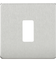 ML ACCESSORIES Screwless 1G Grid Faceplate - (Brushed Chrome)