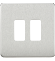 ML ACCESSORIES Screwless 2G Grid Faceplate - (Brushed Chrome)