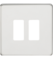 ML ACCESSORIES Screwless 2G Grid Faceplate - (Polished Chrome)