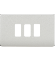 ML ACCESSORIES Screwless 3G Grid Faceplate - (Brushed Chrome)