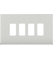 ML ACCESSORIES Screwless 4G Grid Faceplate - (Brushed Chrome)