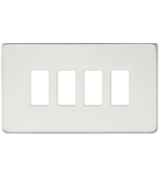 ML ACCESSORIES Screwless 4G Grid Faceplate - (Polished Chrome)